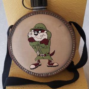 Vtg. Looney Tunes Tasmanian Devil military canteen